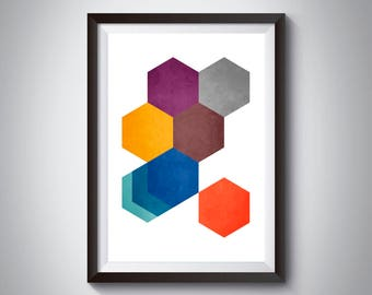Abstract Mid Century Art, Geometric Print, Abstract Wall Art, Mid Century Modern, Modern Scandinavian Decor, Retro Poster, Mad Men Art