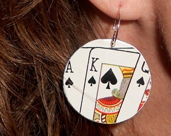 SALE Recycled Tin Earrings ala Solitaire Repurposed Art Earrings Deck of Cards Clubs Spades King Jack Ace Upcycled Card Game Earrings!