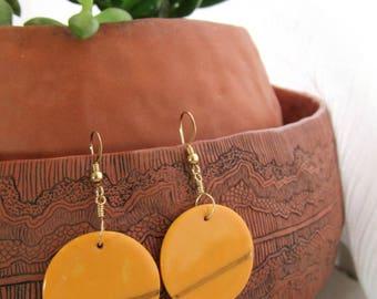 Ceramic Earrings | Round Earrings | Orange Earrings | Orange Gold Earrings