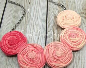 Bib Necklace, Rosette Necklace, Fabric Jewelry, Ombré Jewelry, Statement Necklace, Handmade Jewelry, Bib Necklace Statement, Gifts for Women