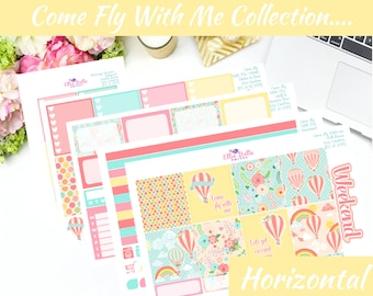 COME FLY with me Collection, HORIZONTAL Planner Kit, Weekly Planner Kit, Planner Stickers, Erin Condren Horizontal Life Planner [258]