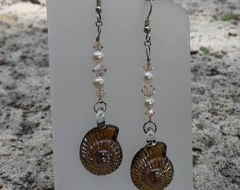 Brown Glass Seashell Earrings