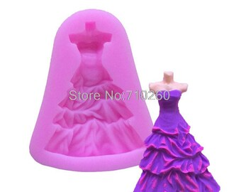 silicone mold for polymer clay wedding gown