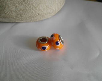 orange lampwork glass bead 14x9mm