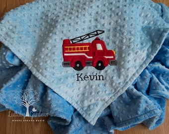 Fire Truck Personalized Minky Baby Blanket, Boy Baby Blanket, Fire Engine Baby Blanket, Personalized Baby Gifts, Lullaby Gardens Blanket
