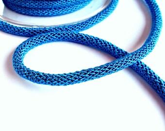 Bright blue braided silk cord, bookbinding cord, thick cord - 6mm, 1m