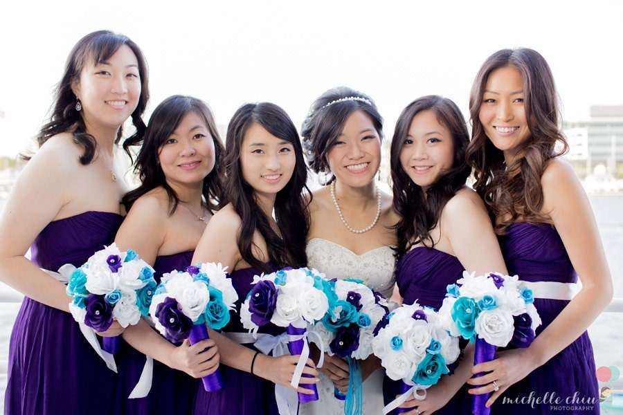 17 Piece Malibu Blue Purple White Bridal Bouquet Rose Wedding