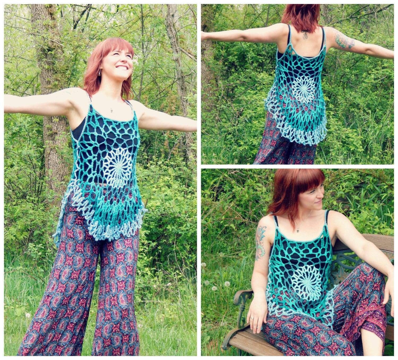 Crochet PATTERN: Mandala Top / Romantic Hippie Festival Tank Top ...