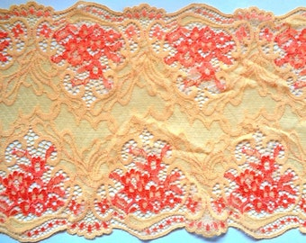"Embroidered Tulle Wide Royal Lace, Orange, 7"" inch wide, 1 Yard For Apparel, Home Decor, Accessories, Mixed Media"