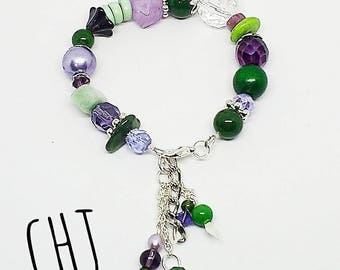Purple and green bracelet, chunky beaded bracelet, purple and silver bracelet, handmade, ready to ship jewelry, free shipping, gifts for her