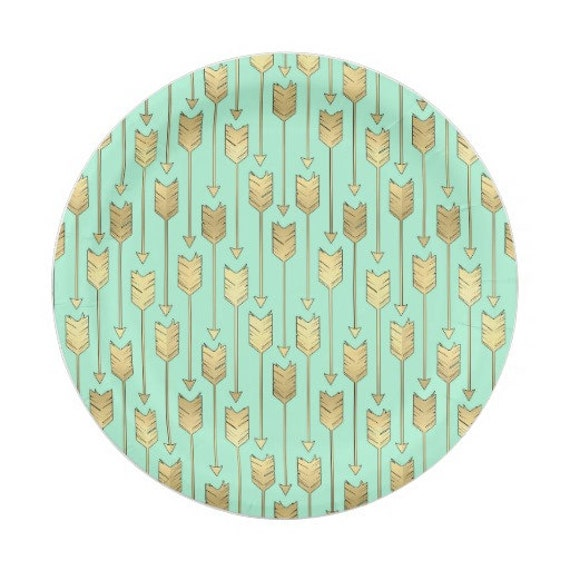 8 GOLD \u0026 MINT ARROWS Paper Plates / Bohemian Birthday Wild One Three Boho Southwest Aztec Indian Tribal Ikat Modern Whimsical Baby Shower  sc 1 st  Etsy & 8 GOLD \u0026 MINT ARROWS Paper Plates / Bohemian Birthday Wild One