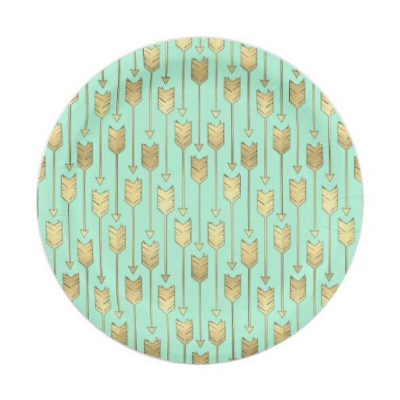 8 GOLD \u0026 MINT ARROWS Paper Plates / Bohemian Birthday Wild One Three Boho Southwest Aztec Indian Tribal Ikat Modern Whimsical Baby Shower  sc 1 st  Etsy : modern paper plates - pezcame.com