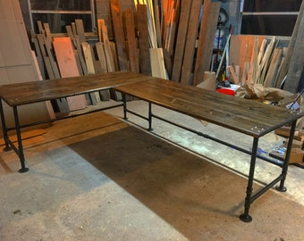 wood reclaimed and pipe office desk corner listing made il shaped solid iron or table legs l with rustic
