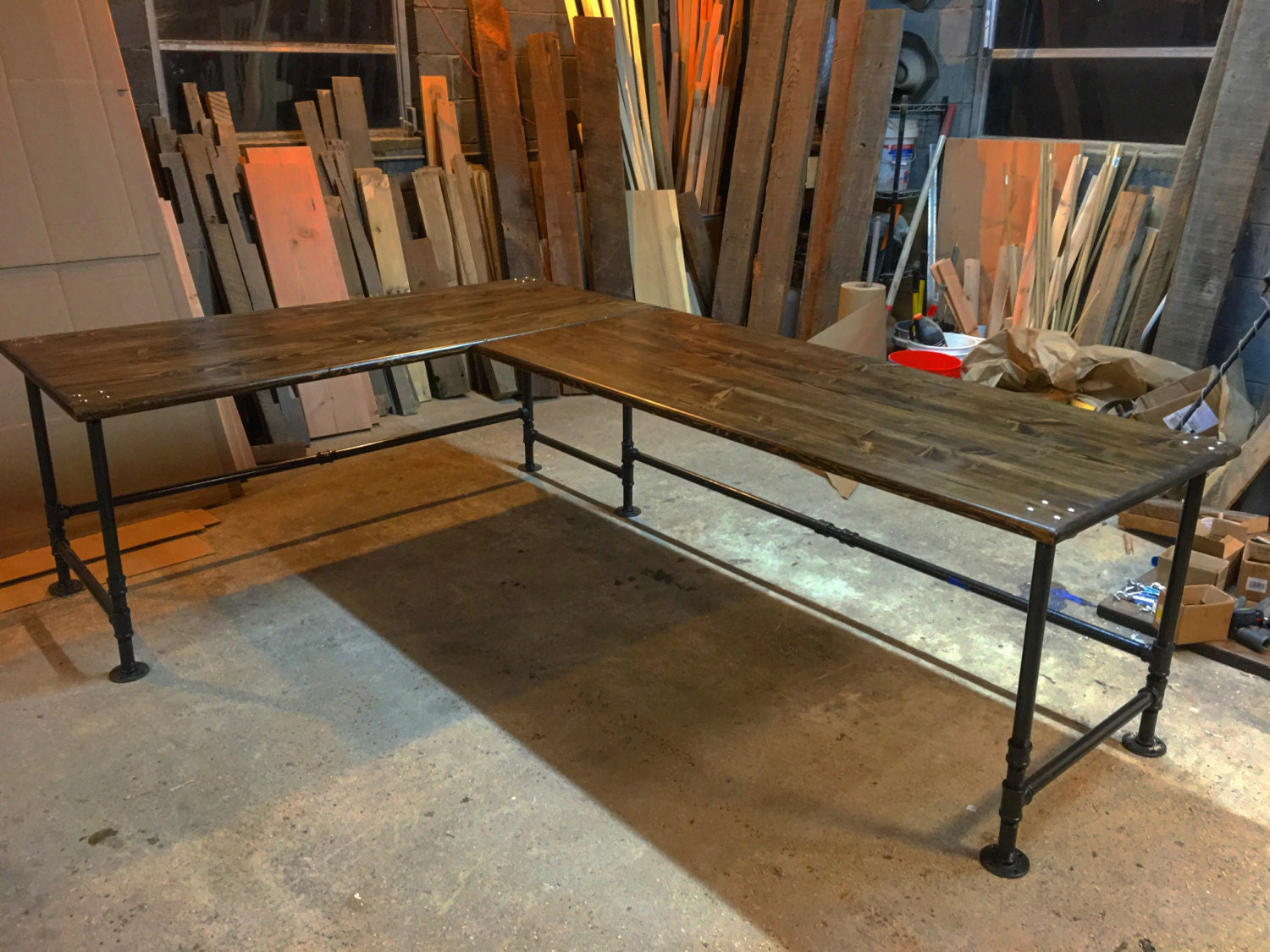 Industrial pipe l shaped desk for Industrial pipe desk