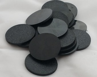 25, 3 1/2 Inch Plastic Circle Blanks, Black