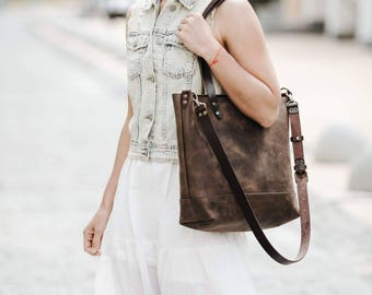 Women's tote bag Tote bag Leather tote bag Women's purse Carryall Shopper Women's gift Birthday gift leather Tote by Kruk Garage