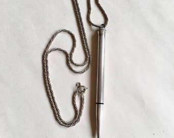 Antique Sterling Silver Cross Mechanical Pencil on Italian Sterling Chain