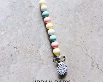 Pacifier Clip, Silicone Pacifier Clip, Teether, Silicone Beads, Food Grade, Chewelry, Hunter, Cotton Candy, Pink Quartz, Mint, White, Yellow