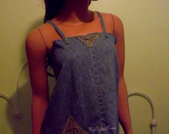 Blue Jean Baby Doll Upcycled Repurposed Denim and Lace Top Resort Collection Ready to Ship Free Shipping in USA