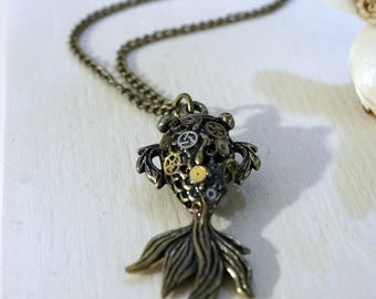 Fish, real gears and watch parts pendant necklace, bronze