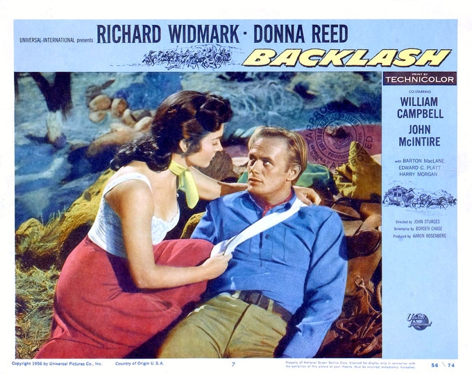 "Lobby Card From the Film ""Backlash"" Starring Richard Widmark and Donna Reed (Reproduction) - 8X10 or 11X14 Photo (MP-005)"