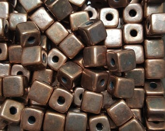 Greek Mykonos Rustic Bronze Cube Beads 7mm Ceramic Cube Bead - 20 beads