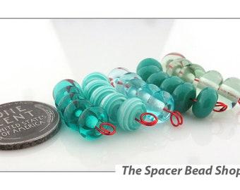 TEAL TONES Green HALF Bead Sets Lampwork Spacers Glass Handmade - The Spacer Bead Shop