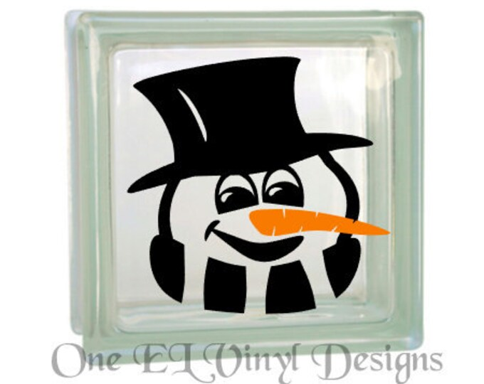 Snowman or Snow Lady Glass Block and other Projects Vinyl Decal - Vinyl Decal for a DIY Glass Block, Christmas Decor, Block Not Included