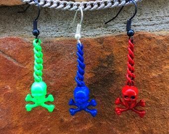 Colorful Skull n' Crossbones Dangle Earring *SINGLE & PAIR*