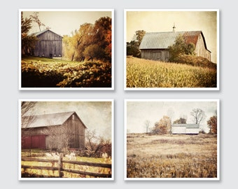 Rustic Home Decor or Canvas, Landscape Print, Barn Prints set of 4, Gold, Yellow, Rust Red, Brown, Autumn Colors, Farmhouse.