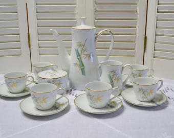 Vintage Noritake Oriental Tea Set Demitasse Cups Sugar Bowl Creamer Teapot Coffee Pot Bamboo Chinoiserie Japan PanchosPorch