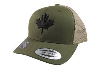 Canadian Black Maple Leaf 3D Puff Embroidery Canada Flag on an Adjustable Olive Green Yupoong Structured Truckers Style Snapback Ball Cap