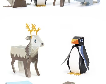 Ice Animals Paper Toys - DIY Paper Craft Kit - 3D Paper Animals - 4 Ice Animals - Papercraft Kids
