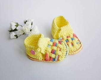 Cotton booties, crochet baby shoes, sandals organic cotton, baby boutique model, newborn girl booties, knitted baby clothes