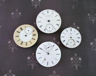 Four Vintage Antique Pocket Watch Faces With Parts Lot E
