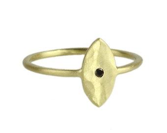14K Rose/White/Yellow Gold Hammer Finish Bezel Set Diamond Ring With Black Diamond