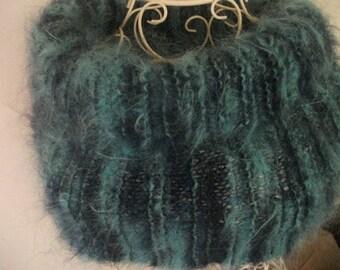 luxury SOFT MOHAIR COWL, blues, aqua, dark blue, winter, women