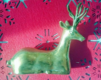 Vintage brass deer figurine | stag resting brass decor | vintage deer statuette brass UK
