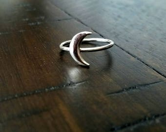 Silver Crescent Moon Ring - Small Sterling Silver Moon - Stacking Ring - Celestial Ring - Stackable Ring