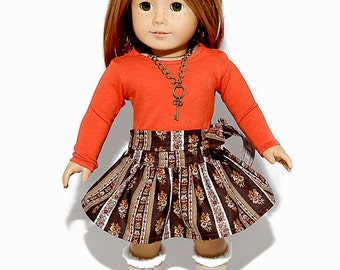 18 inch doll clothes made to fit like american girl doll clothes, burnt orange top and coordinating circle skirt