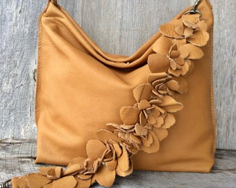Leather Bag in Soft Butterscotch Caramel Designer Leather with Detachable Flower Shoulder Strap - Slouchy - Handmade - by Stacy Leigh