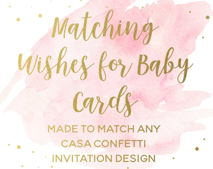 Matching Wish Wishes for Baby Cards for any Invitation Design, Baby Shower Cards, Printable Baby Shower Games, Coordinating Party Printables