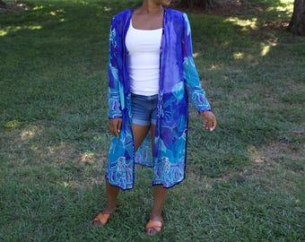 Blue Turquoise Open Cardigan (Swim Coverup)
