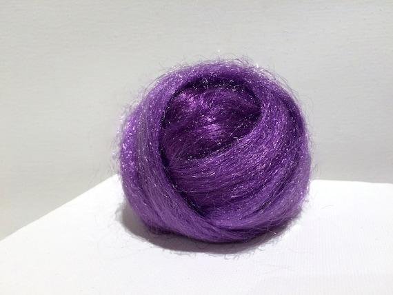 Iris Firestar roving, Needle Felting, Spinning Fiber, medium purple dark lavender violet, .5 oz, similar to Icicle Top, ship free w wool