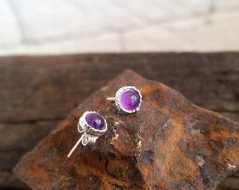 Amethyst earrings, stud earrings, small earrings, silver stud earrings, small studs, simple studs, gemstone earrings, post earrings, Gift