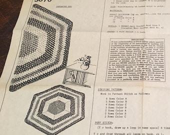 Vintage Hexagon Crochet Rug Pattern 5670