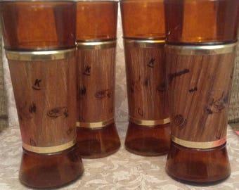 Vintage Siesta Ware, Bar Glasses, Western Theme, Set of 4