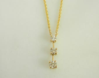 Lovely 14k Yellow Gold Past, Present and Future Diamond Pendant