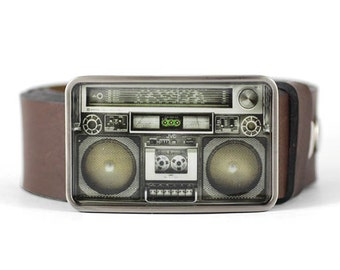 Music Belt Buckle, Retro Boombox Belt Buckle, Gift for him, Gift for men, men's belt buckle