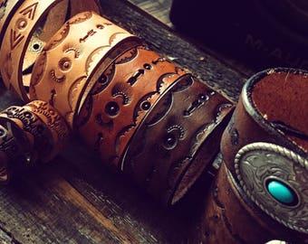Southwest Leather Bangle, Boho Leather Bracelet, Leather Bracelet, Native American Bracelet, Bohemian Leather Bracelet, Boho Bracelet